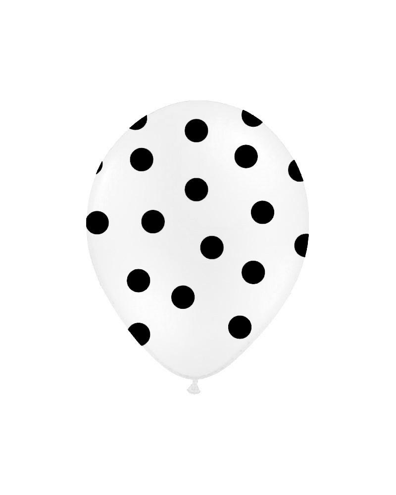 Biały balon w czarne kropki