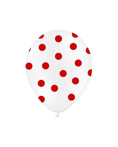 Balon biały w czerwone kropki