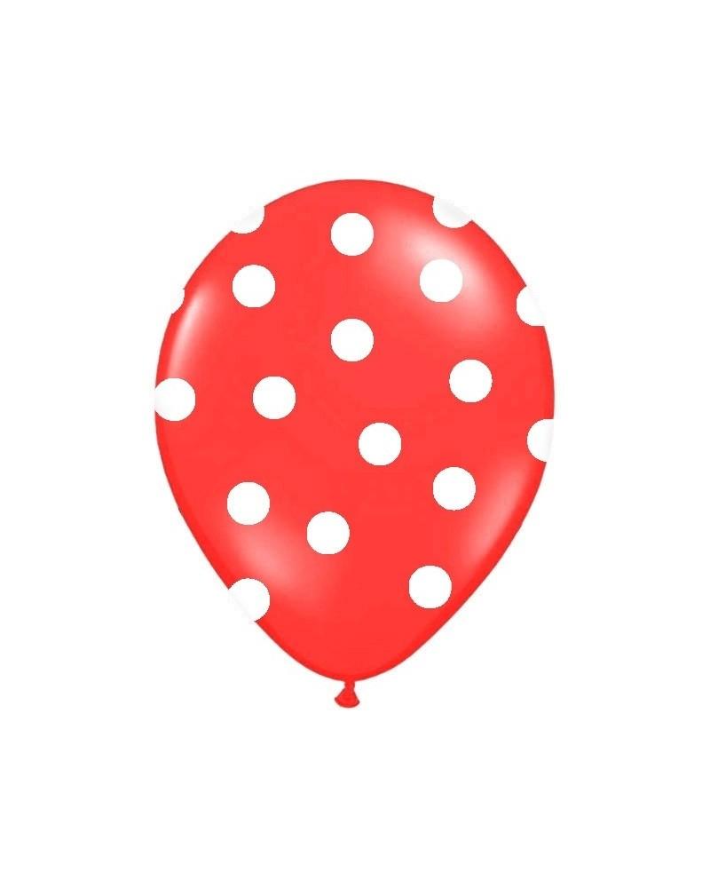 Czerwony balon w białe kropki