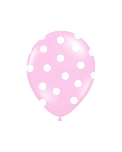 Balon jasno różowy w białe kropki