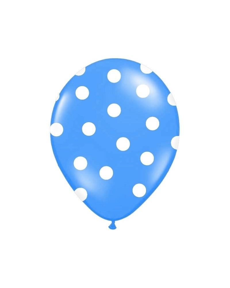 Niebieski balon w białe kropki