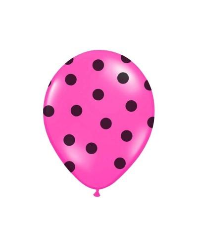 Balon różowy w czarne kropki