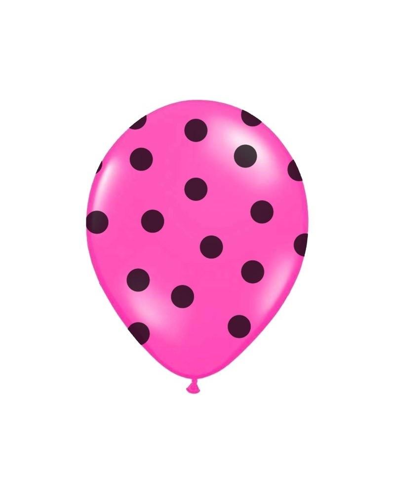 Różowy balon w czarne kropki