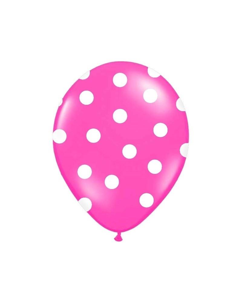 Różowy balon w białe kropki