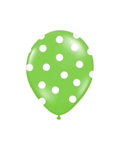 Balon zielony w białe kropki