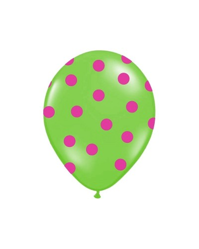 Balon zielony w różowe kropki