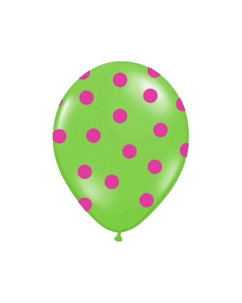Zielony balon w różowe kropki