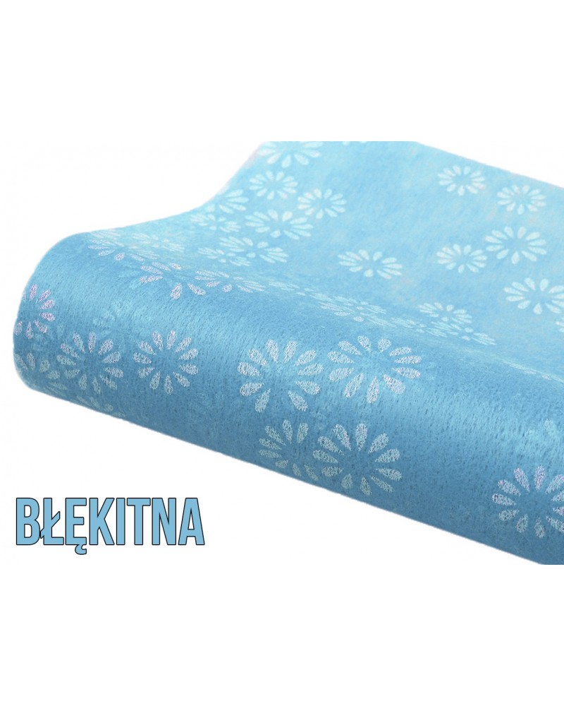 Flizelina w kwiatki błękitna