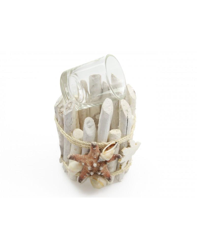 Świecznik morski 10cm biały