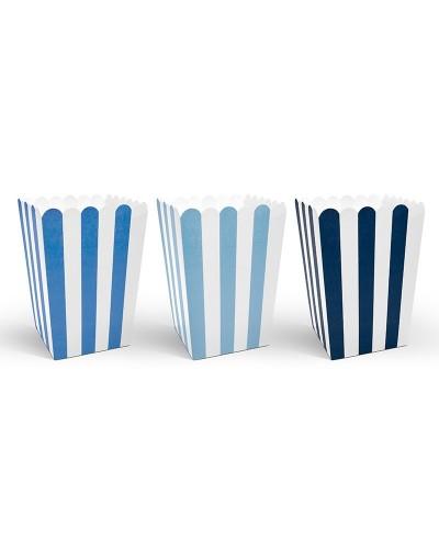 Pudełka na popcorn seria Samolocik niebieskie 6 sztuk