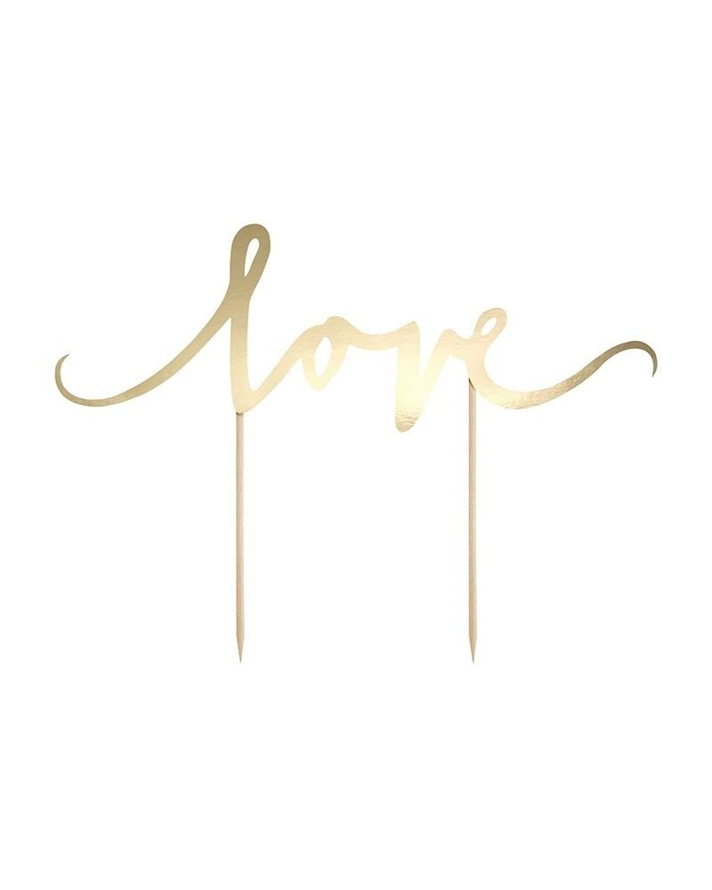 Topper na tort Złoty napis Love