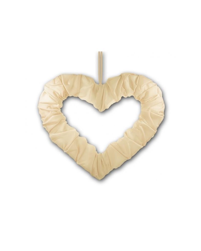 Serce na tasiemce 50cm Kremowe