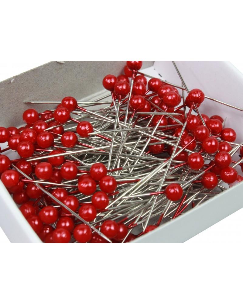 Szpilki dekoracyjne 4mm główka czerwona