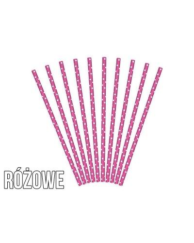 Papierowe słomki w kropki różowe