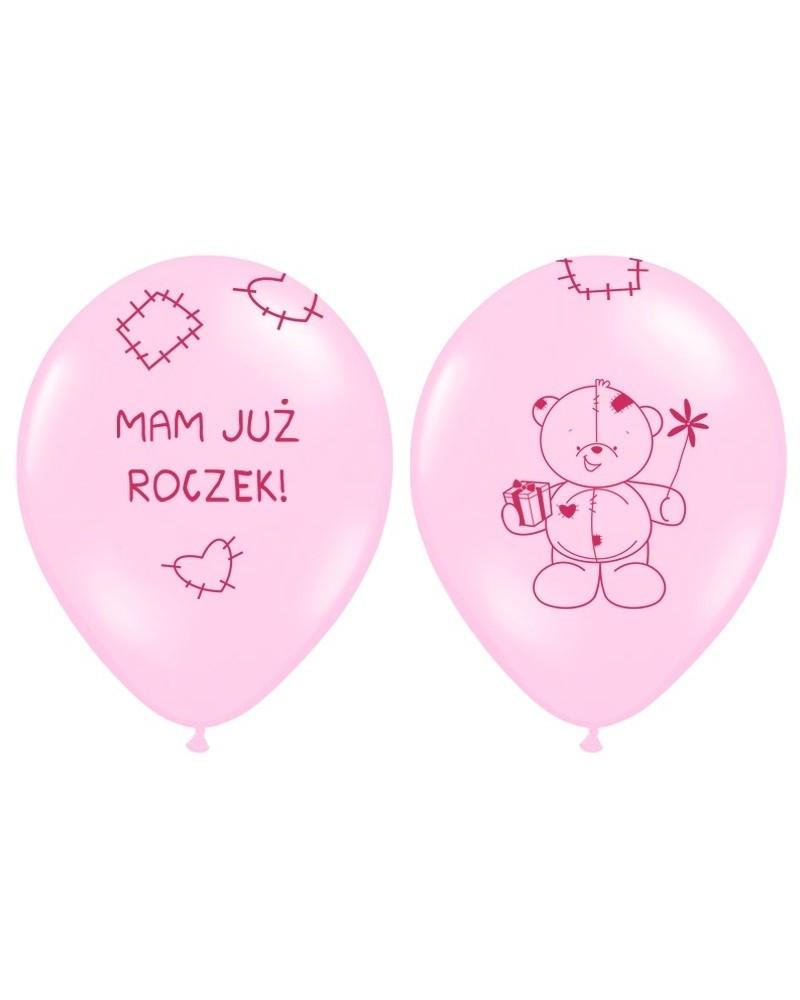 """Balony na """"1"""" urodziny MAM JUŻ ROCZEK Różowy"""