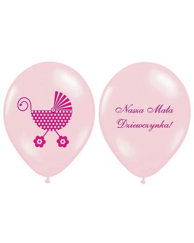 """Balony na """"1"""" urodziny WÓZEK Różowy"""