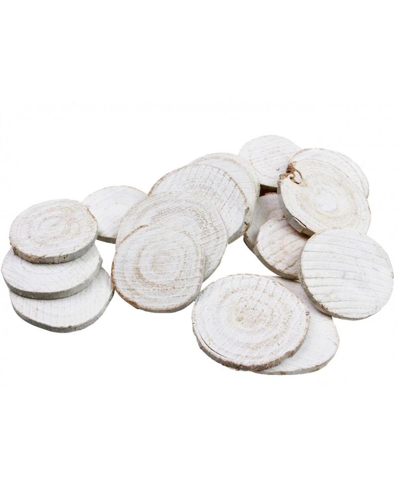 Drewniane plastry Decoupage Białe