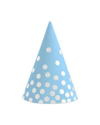 Czapeczki papierowe błękitne Srebrne groszki