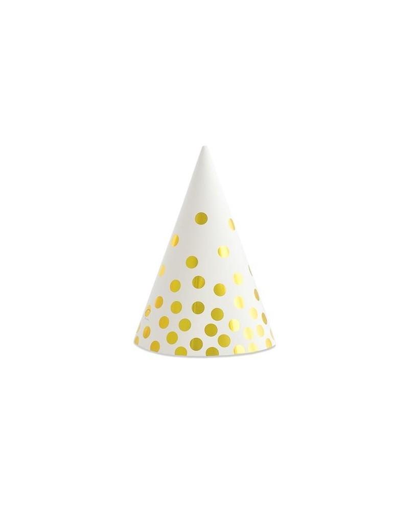 Czapeczki papierowe białe Złote groszki