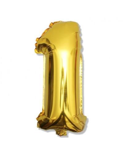 Balon foliowy na 1 urodziny złoty 40cm