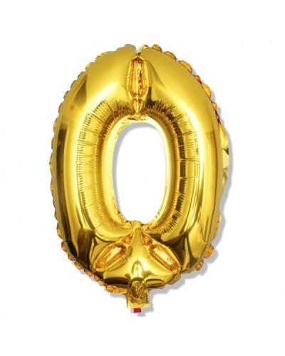 Balon foliowy złota cyfra 0 na urodziny 40cm