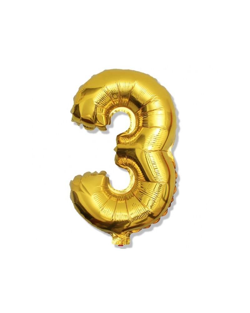 Balon foliowy złota cyfra 3 na urodziny 40cm