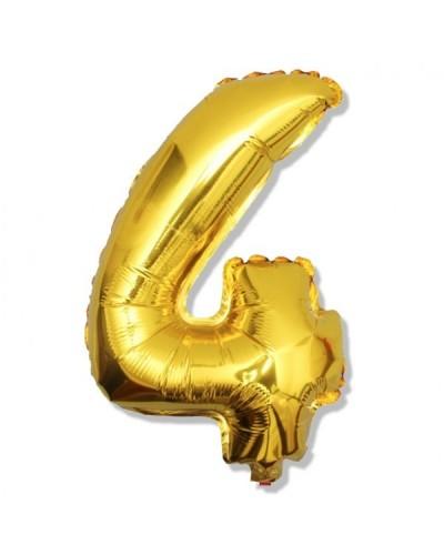 Balon foliowy złota cyfra 4 na urodziny 40cm