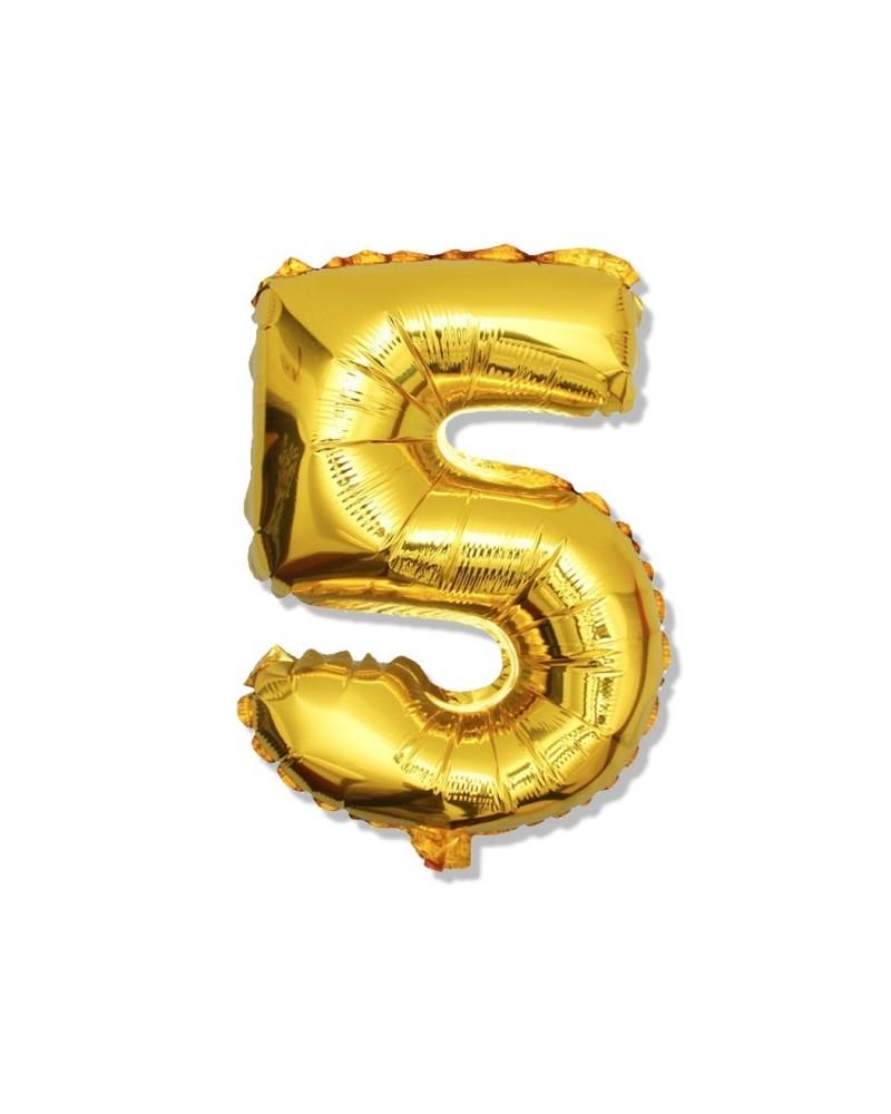 Balon foliowy złota cyfra 5 na urodziny 40cm