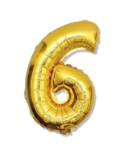 Balon foliowy złota cyfra 6 na urodziny 40cm