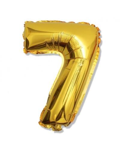 Balon foliowy złota cyfra 7 na urodziny 40cm