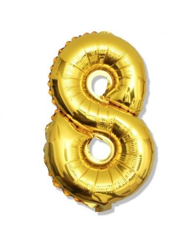 Balon foliowy złota cyfra 8 na urodziny 40cm