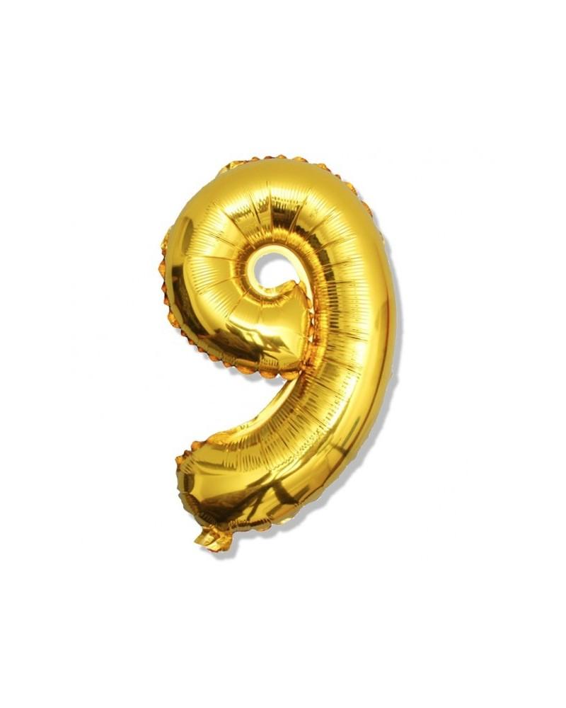 Balon foliowy złota cyfra 9 na urodziny 40cm