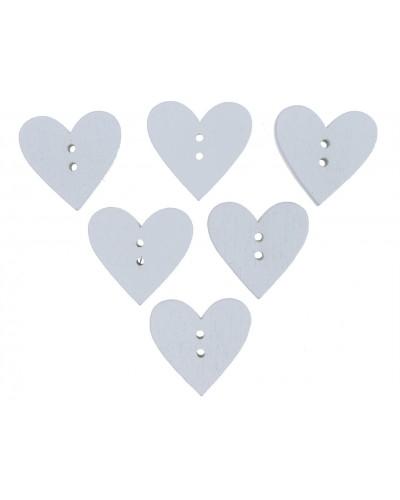 Serca Guziki w kolorze białym