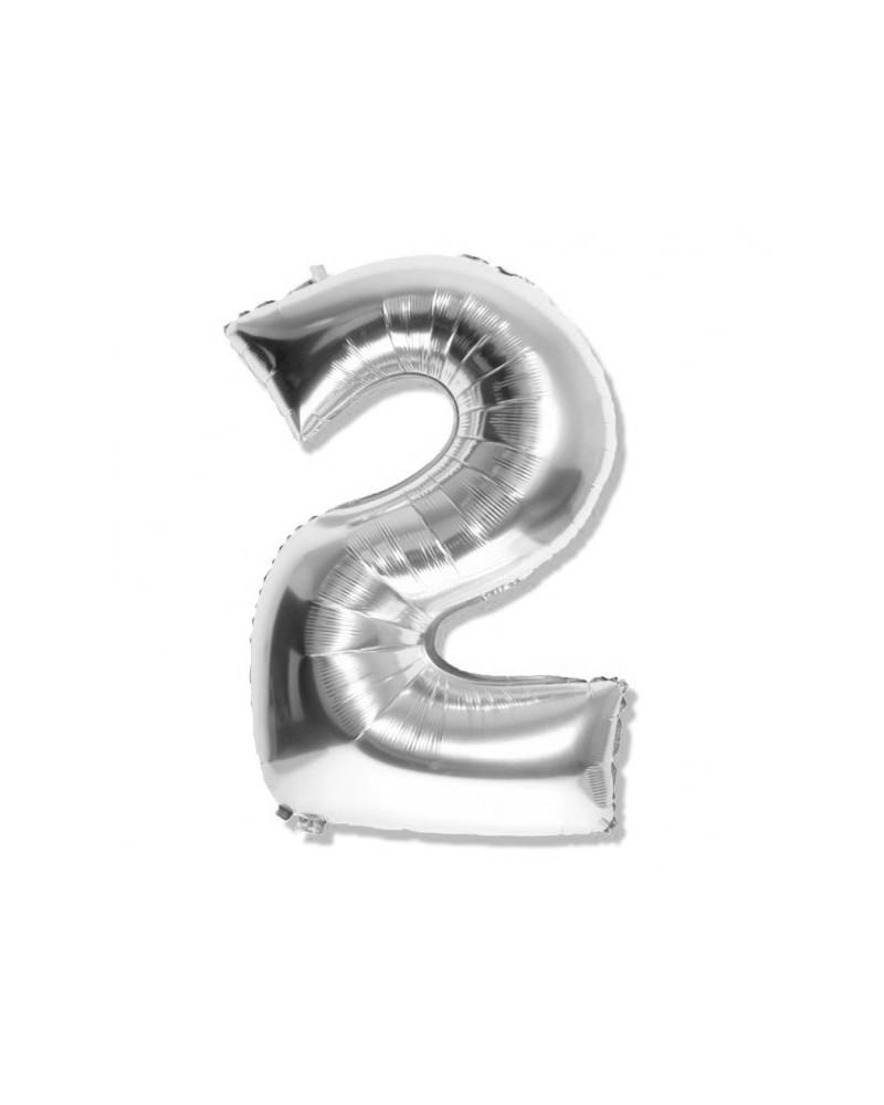 Balon foliowy srebrna cyfra 2 na urodziny 40cm