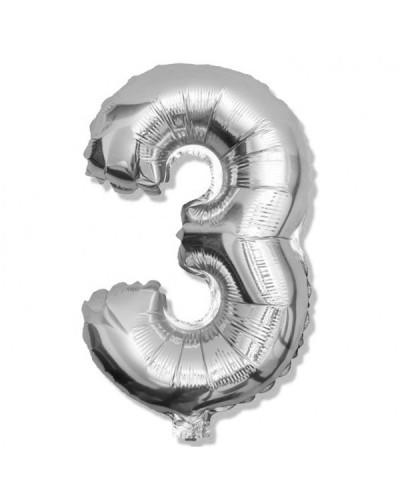 Balon foliowy srebrna cyfra 3 na urodziny 40cm