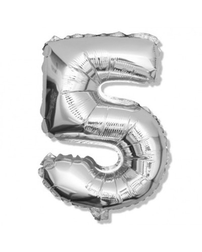 Balon foliowy srebrna cyfra 5 na urodziny 40cm