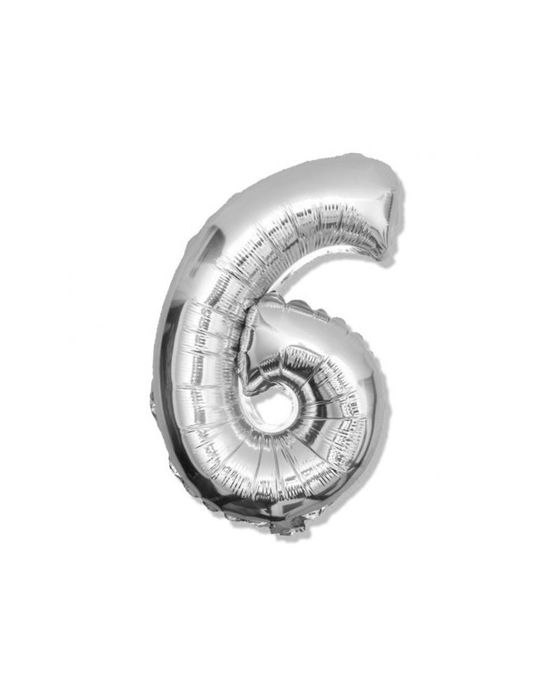 Balon foliowy srebrna cyfra 6 na urodziny 40cm