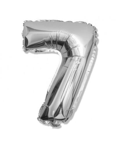Balon foliowy srebrna cyfra 7 na urodziny 40cm