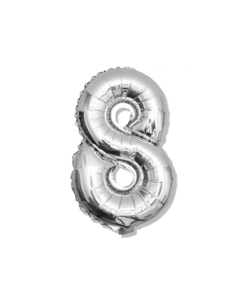 Balon foliowy srebrna cyfra 8 na urodziny 40cm
