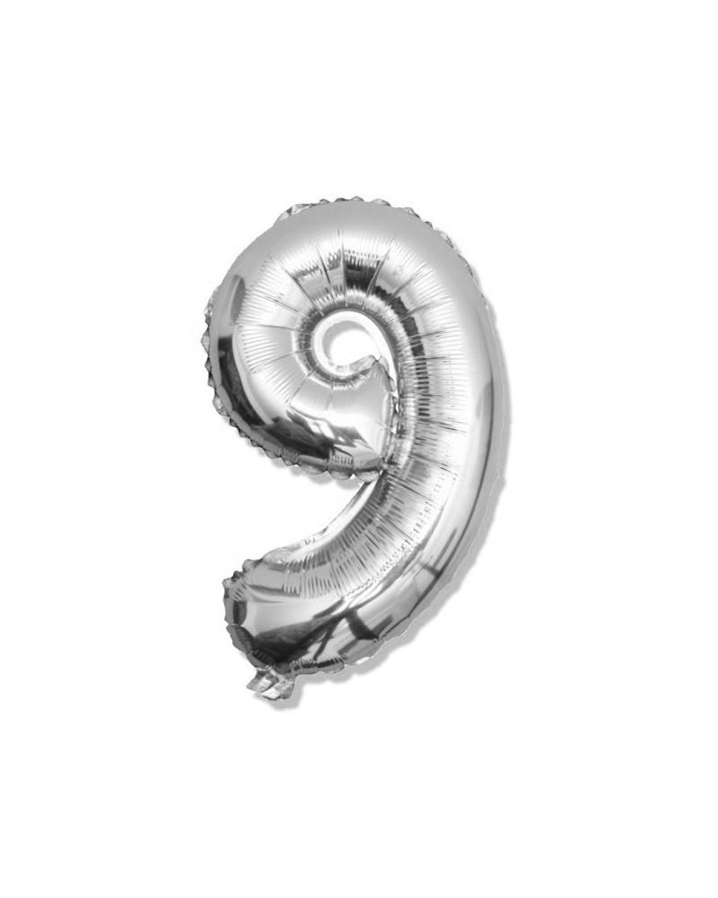 Balon foliowy srebrna cyfra 9 na urodziny 40cm