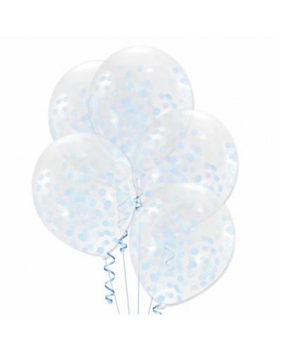 Balony z błękitnym konfetti
