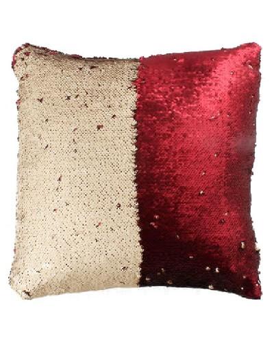 Poduszka z cekinami, kremowo-czerwone