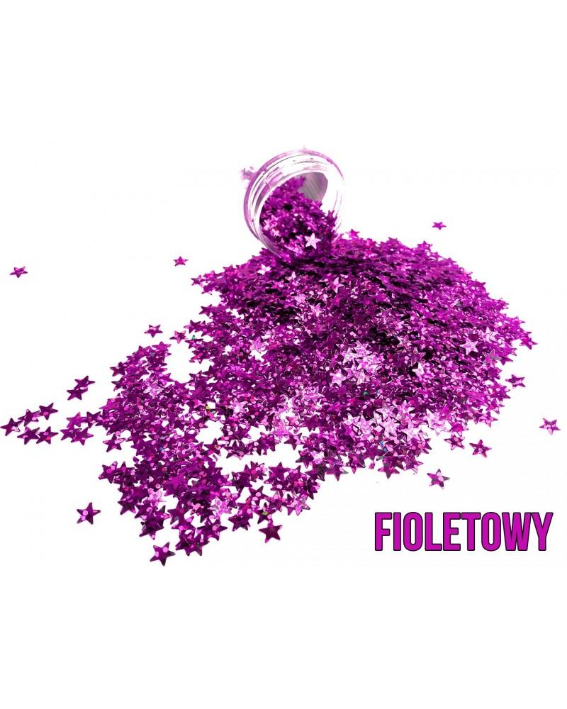 Brokat dekoracyjny gwiazdki fioletowe