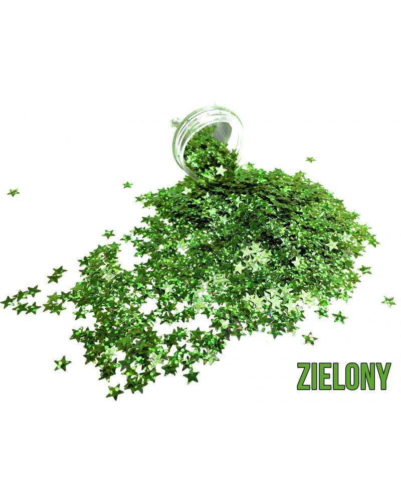 Brokat dekoracyjny gwiazdki zielone
