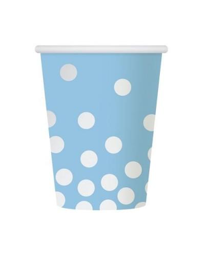 Kubeczki papierowe błękitne Srebrne groszki
