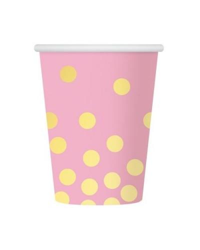 Kubeczki papierowe różowe Złote groszki