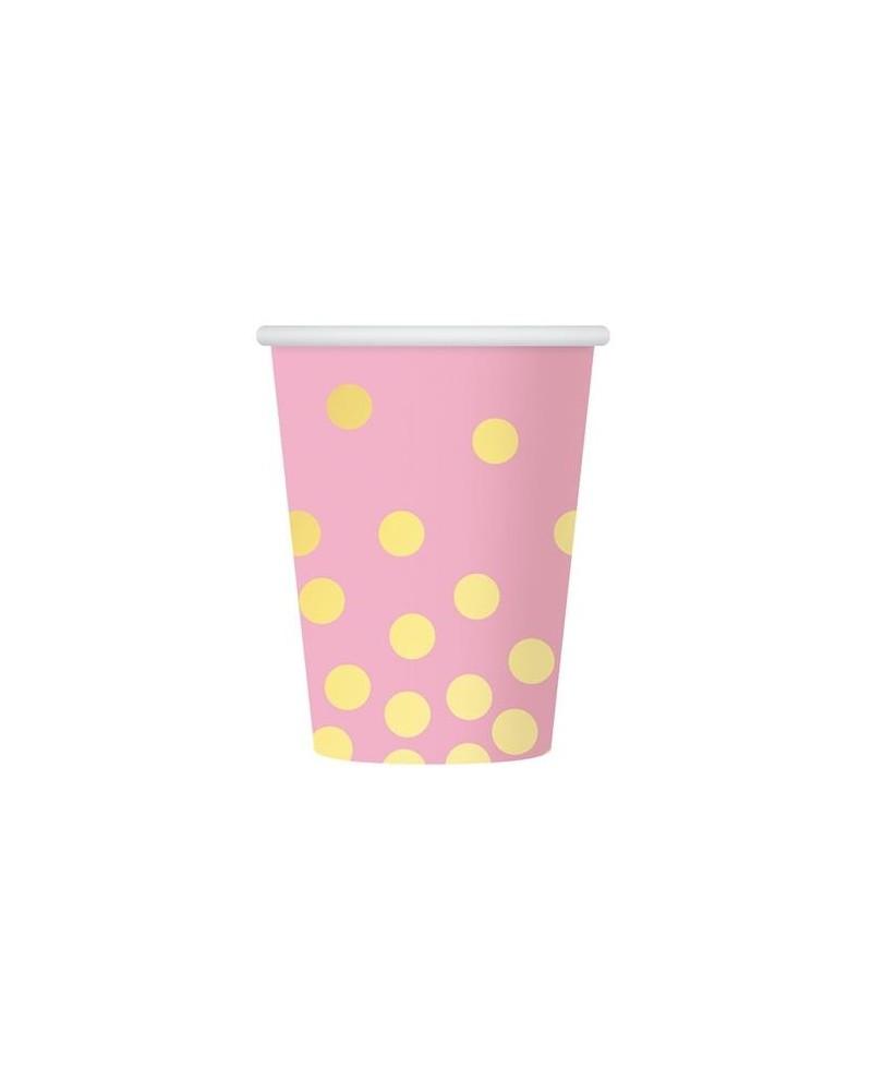 Kubeczki papierowe różowe w złote groszki