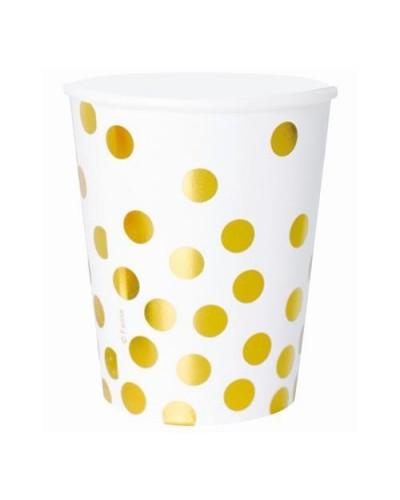 Kubeczki papierowe białe złote groszki