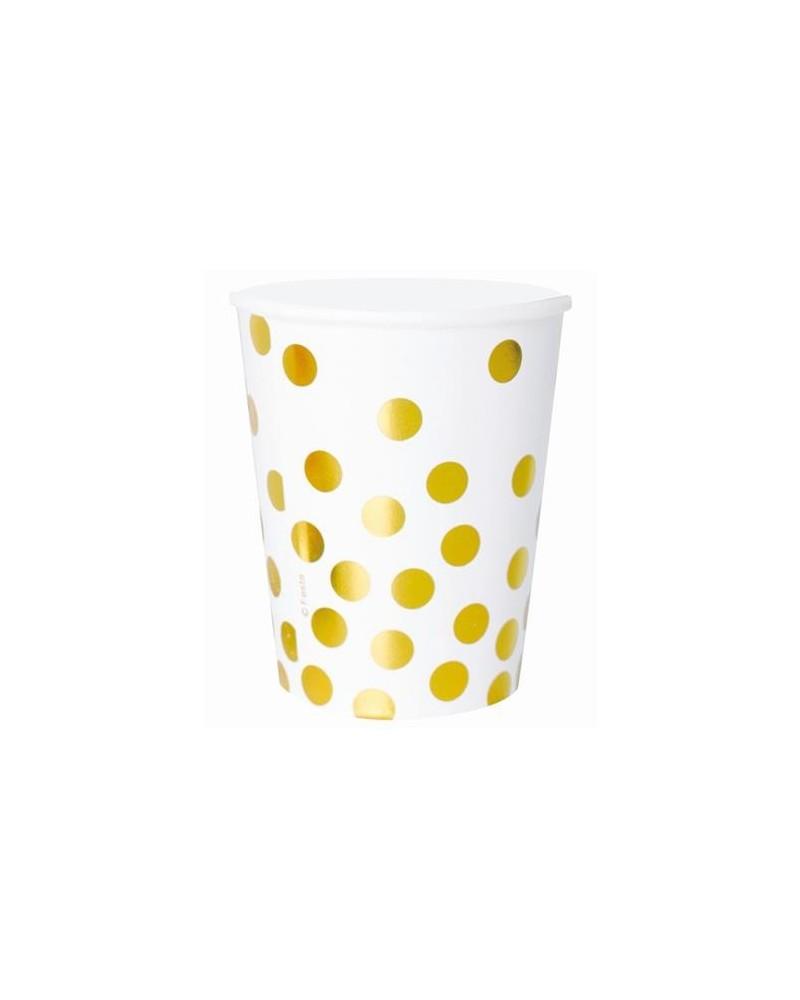 Kubeczki papierowe białe w złote groszki