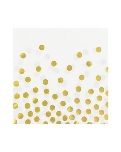 Serwetki białe w złote groszki 12 szt.